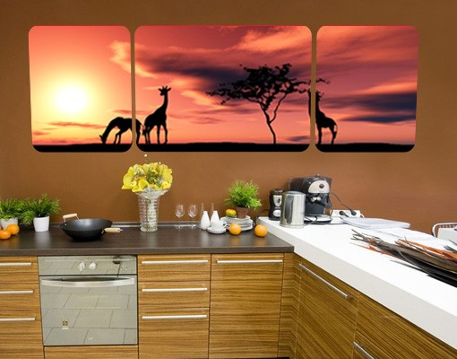 Produktfoto Selbstklebendes Wandbild The African Life Triptychon