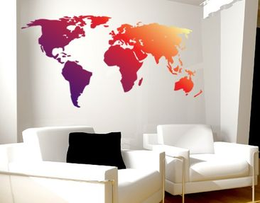 Produktfoto Wall Decal no.212 World Map Red