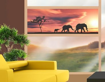 Product picture Window Mural Savannah Elefant Family