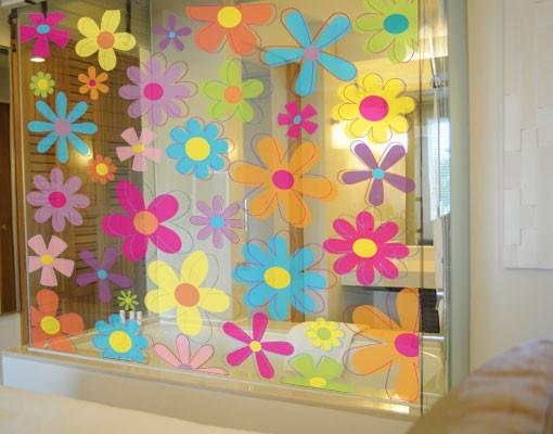 Produktfoto Fensterfolie - Fenstersticker - No.172 Retro Blumen - Fensterbilder Frühling