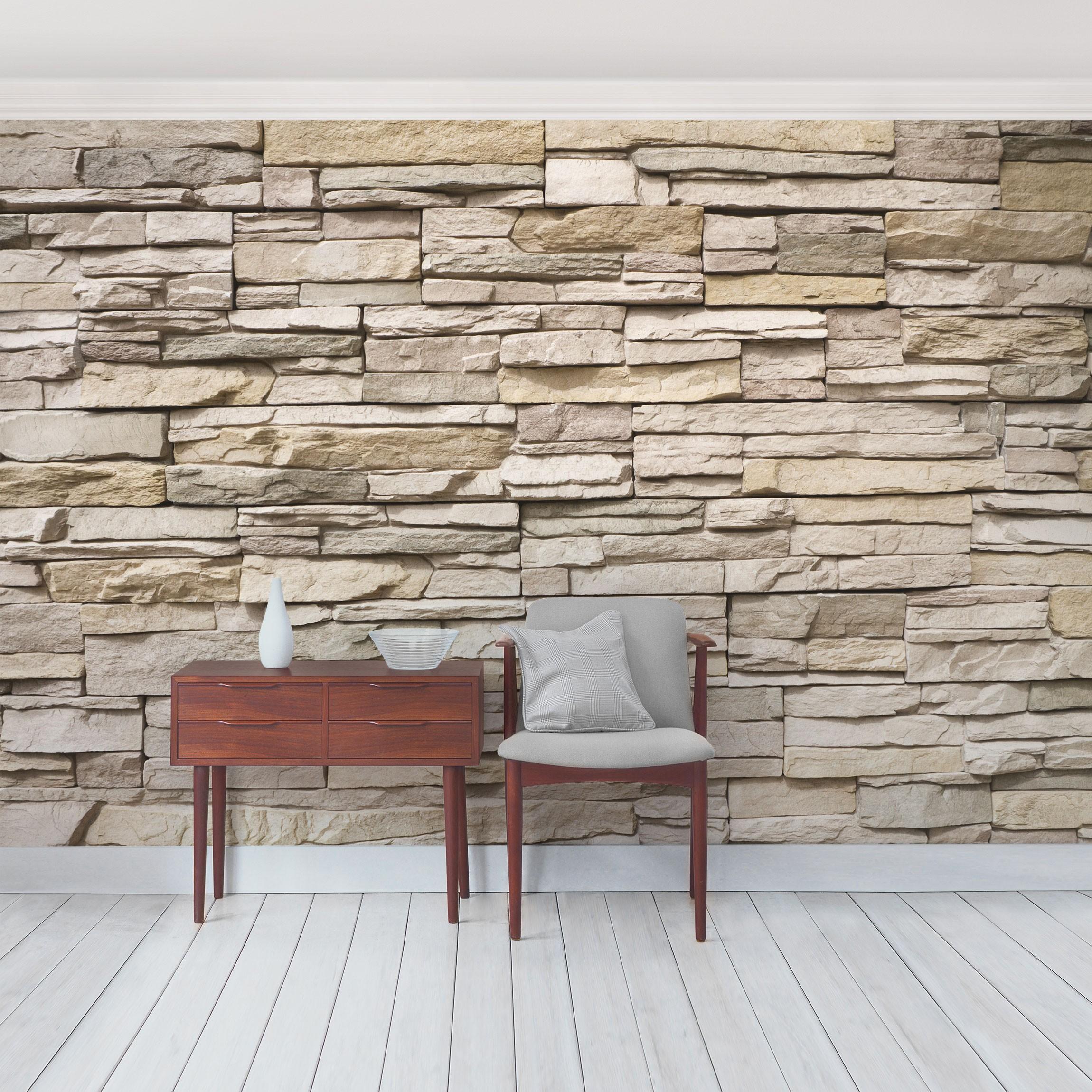 steintapete selbstklebend asian stonewall steinmauer aus gro en hellen steinen fototapete. Black Bedroom Furniture Sets. Home Design Ideas