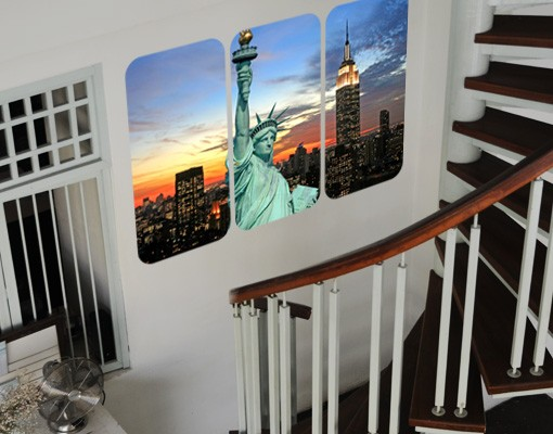 Produktfoto Selbstklebendes Wandbild New York At Night Triptychon
