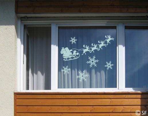 Produktfoto Fensterfolie - Fenstertattoo No.SF843 Rentierschlitten - Milchglasfolie