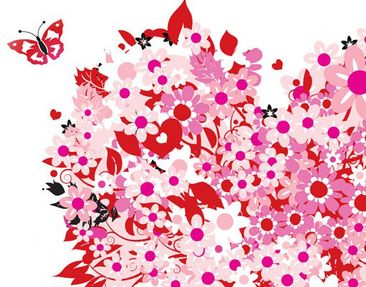 Product picture Wall Decal no.321 Floral Retro Heart