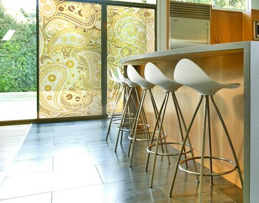 Produktfoto Fensterfolie - Sichtschutz Fenster Retro Paisley - Fensterbilder