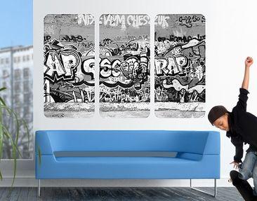 Produktfoto Selbstklebendes Wandbild Graffiti Art Triptychon