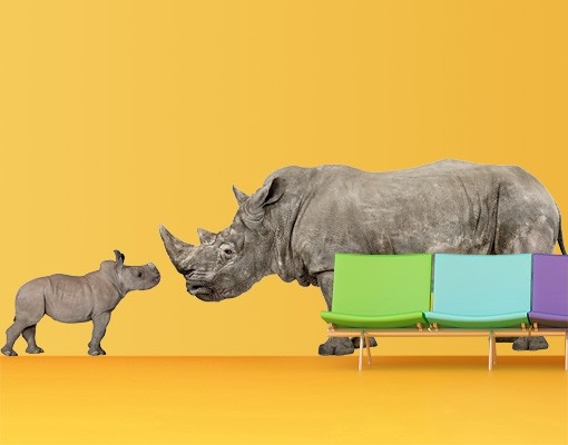 Produktfoto Wandtattoo No.605 Mother and Baby Rhinoceros