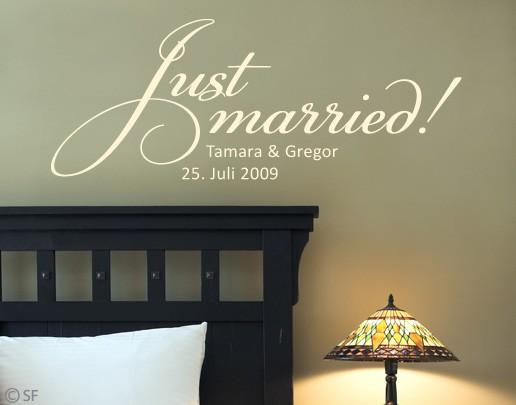 Produktfoto Wandtattoo Sprüche - Wandtattoo Namen Wunschtext No.SF891  Just Married