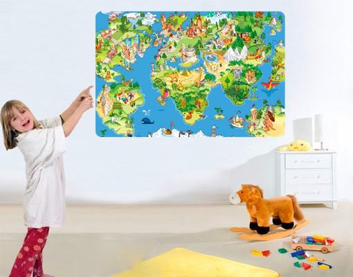 Produktfoto Selbstklebendes Wandbild Great and Funny Worldmap