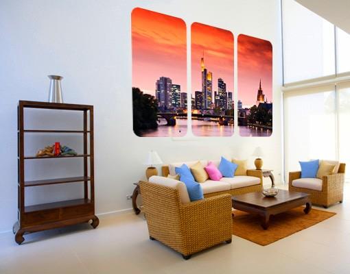 Produktfoto Selbstklebendes Wandbild Frankfurt Skyline Triptychon