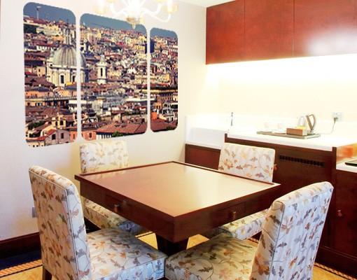 Produktfoto Selbstklebendes Wandbild The Rome Rooftops Triptychon