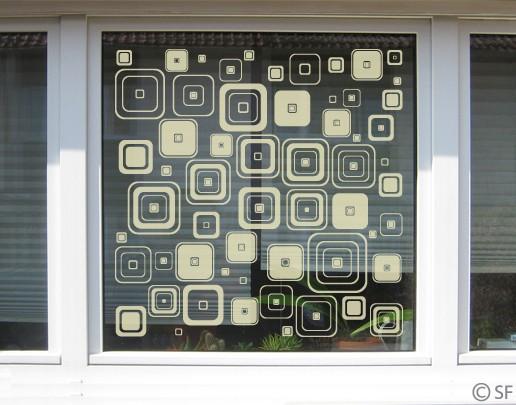 Produktfoto Fensterfolie - Fenstertattoo No.SF935 Retro Squares - Milchglasfolie