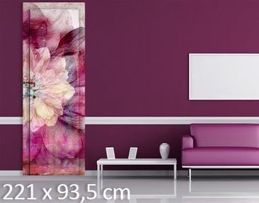 Product picture Door Wall Mural Grunge Flower