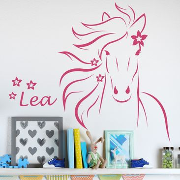 Product picture Wallsticker with own words - horse with...