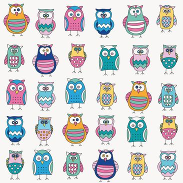 Product picture Adhesive Film - Owls in various pastel...