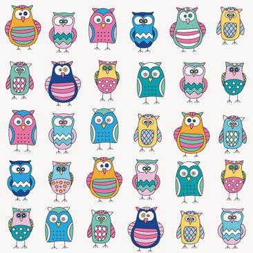 Immagine del prodotto Pellicola adesiva - Owls in various pastel shades
