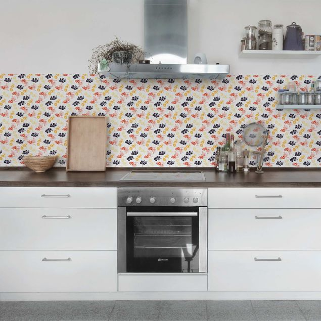 klebefolie handgezeichnetes beerenfr chte muster f r k che selbstklebende folie. Black Bedroom Furniture Sets. Home Design Ideas
