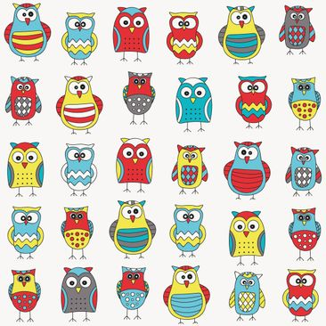 Immagine del prodotto Pellicola adesiva - Kids pattern with various owls