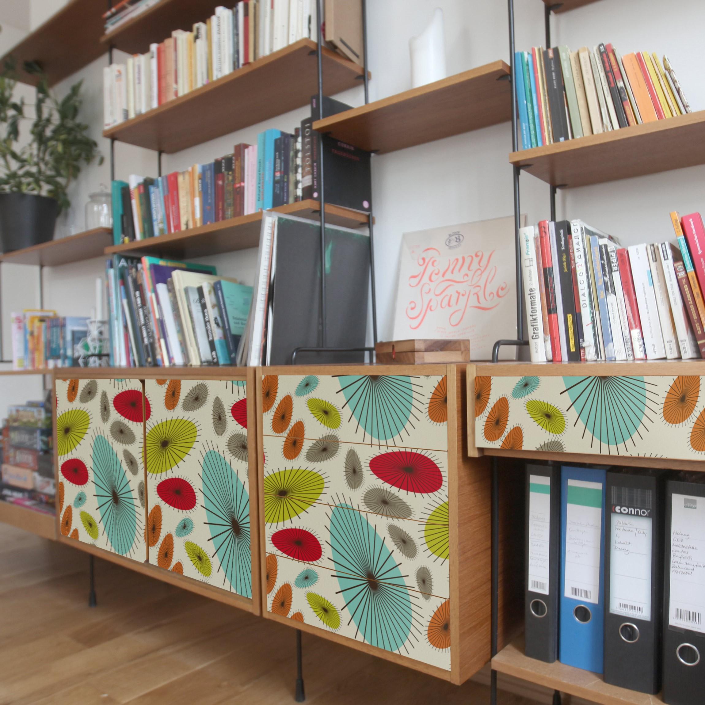 Carta adesiva per mobili abstract retro floral pattern - Carta adesiva colorata per mobili ...