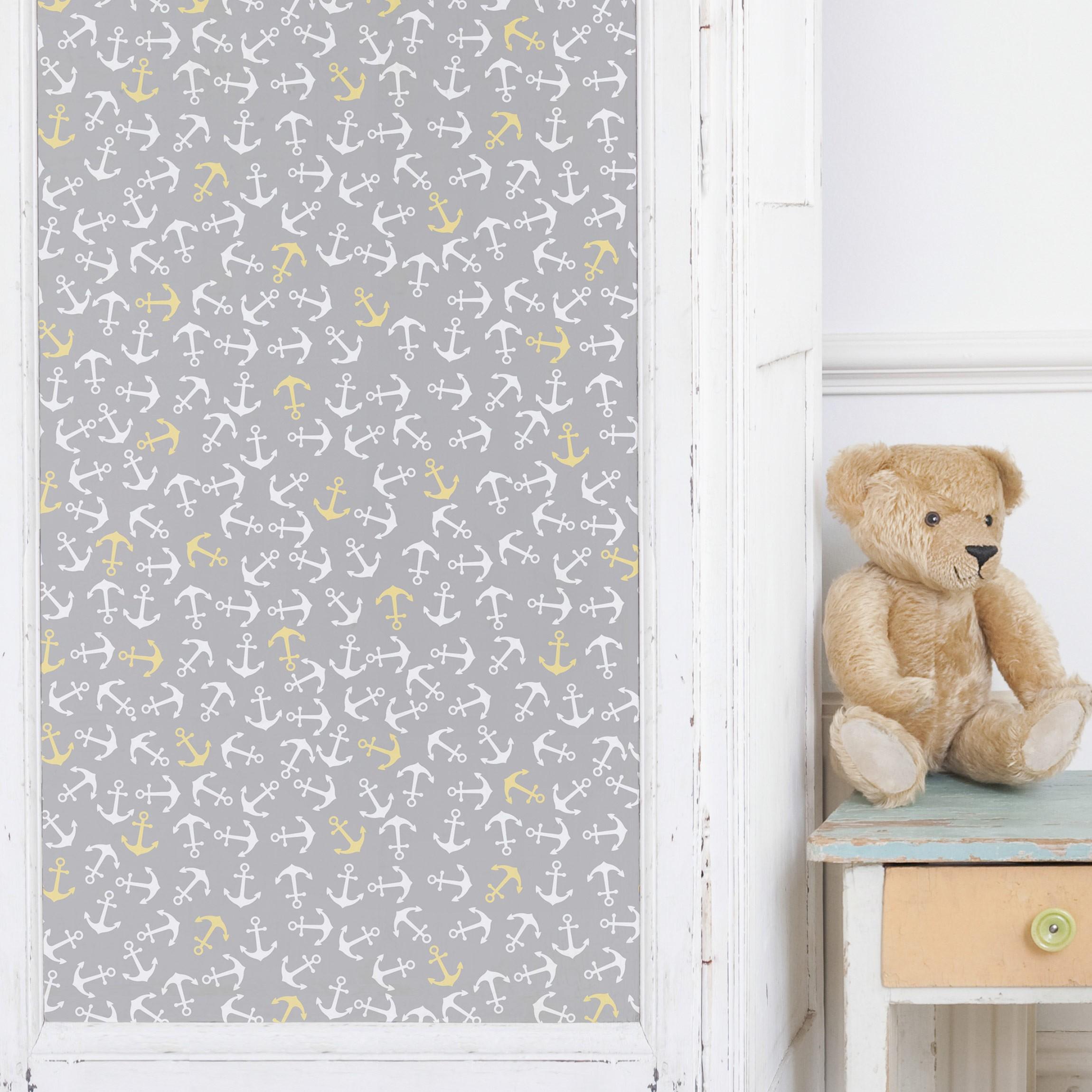 m belfolie anker wei gelb auf grau klebefolie f r m bel. Black Bedroom Furniture Sets. Home Design Ideas