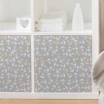 Produktfoto Möbelfolie - Anker Weiß Gelb auf Grau...
