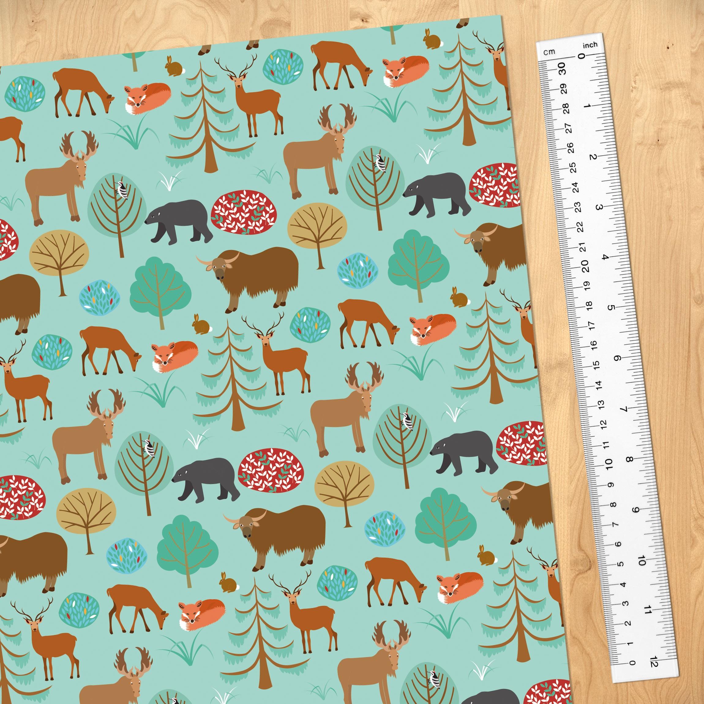 Carta adesiva per mobili modern children pattern with forest animals - Carta adesiva colorata per mobili ...