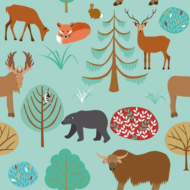 Produktfoto Möbelfolie - Modernes Kindermuster mit Waldtieren - Klebefolie für Möbel