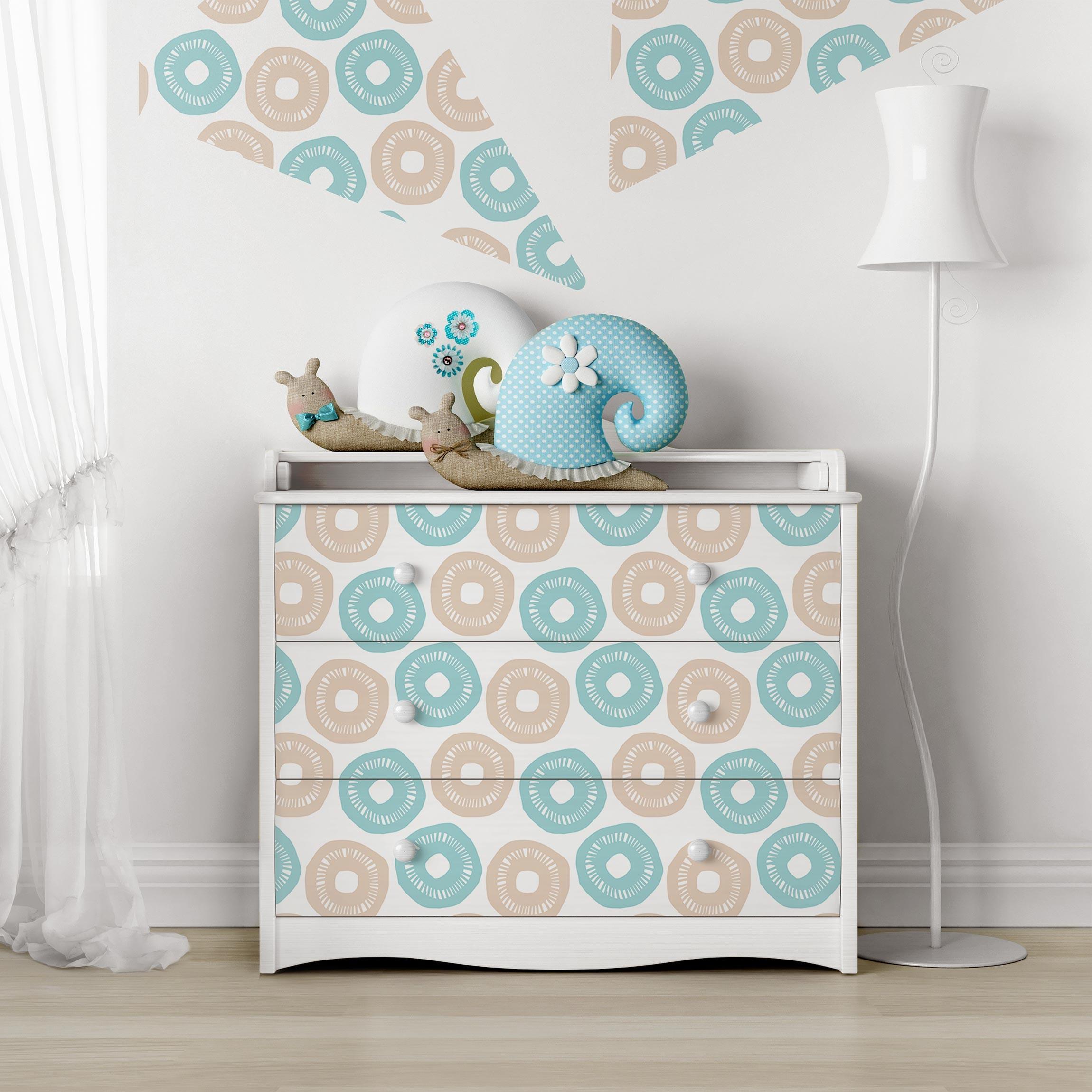 Carta adesiva per mobili modern pastel pattern light blue rose - Carte adesive per mobili ...