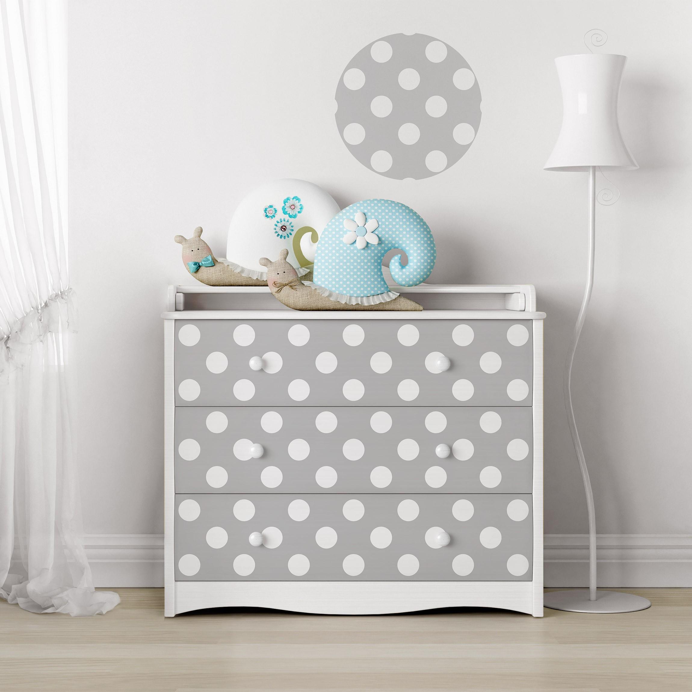 m belfolie punkte in wei auf grau klebefolie f r m bel. Black Bedroom Furniture Sets. Home Design Ideas