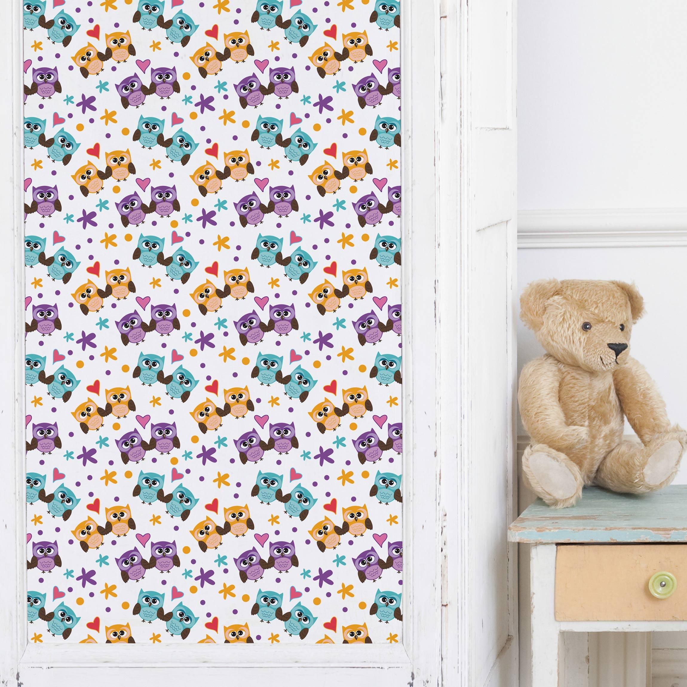 Carta adesiva per mobili sweet child pattern with love owls - Carta per ricoprire mobili ...