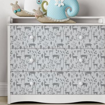 Immagine del prodotto Carta Adesiva per Mobili - Sweet deer pattern in different shades of gray