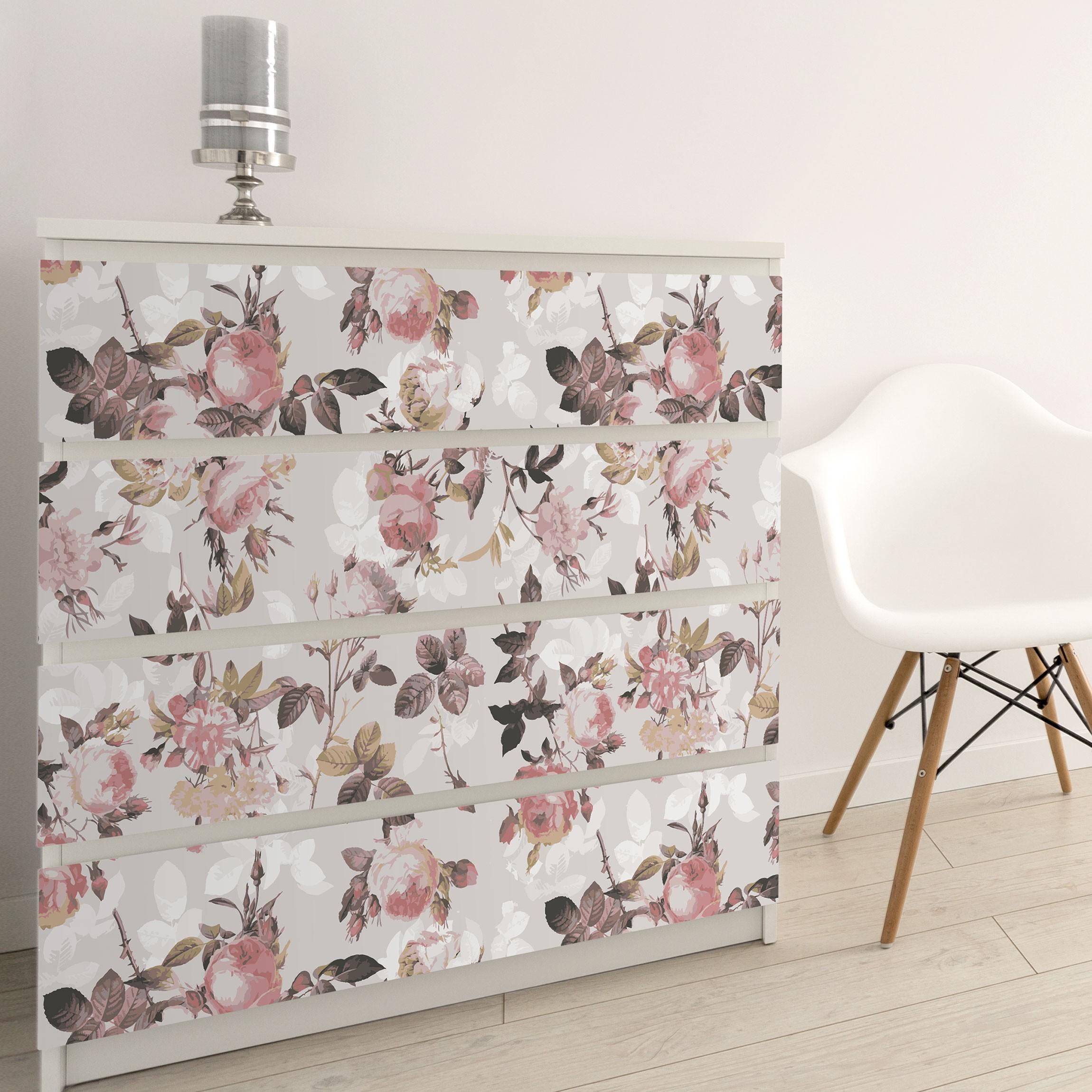 m belfolie vintage blumen muster mit rosen klebefolie. Black Bedroom Furniture Sets. Home Design Ideas