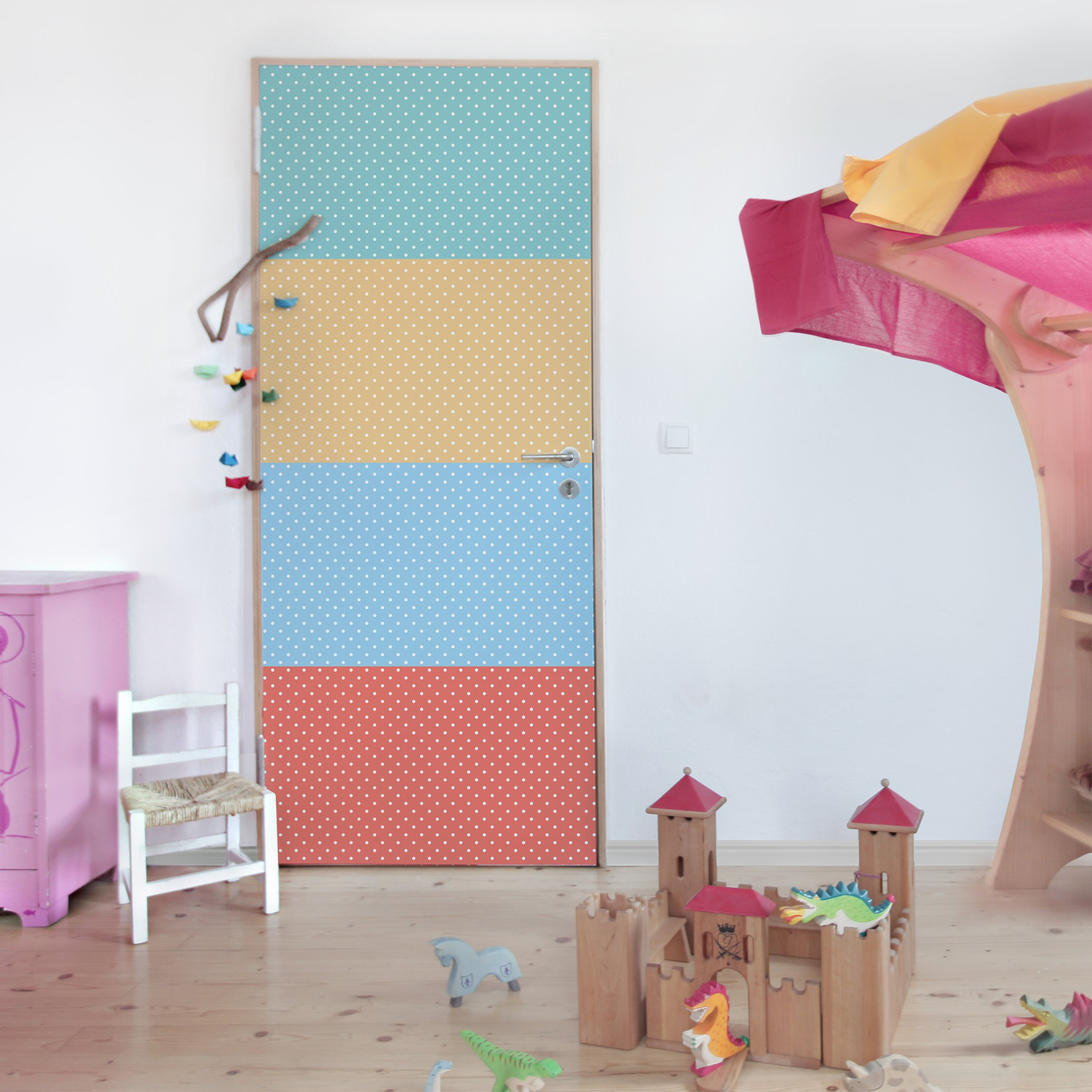 Klebefolie kinderzimmer pastell farben wei gepunktet - Kinderzimmer pastell ...