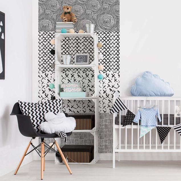 klebefolie schwarz wei set aus 4 modernen pinselstriche. Black Bedroom Furniture Sets. Home Design Ideas
