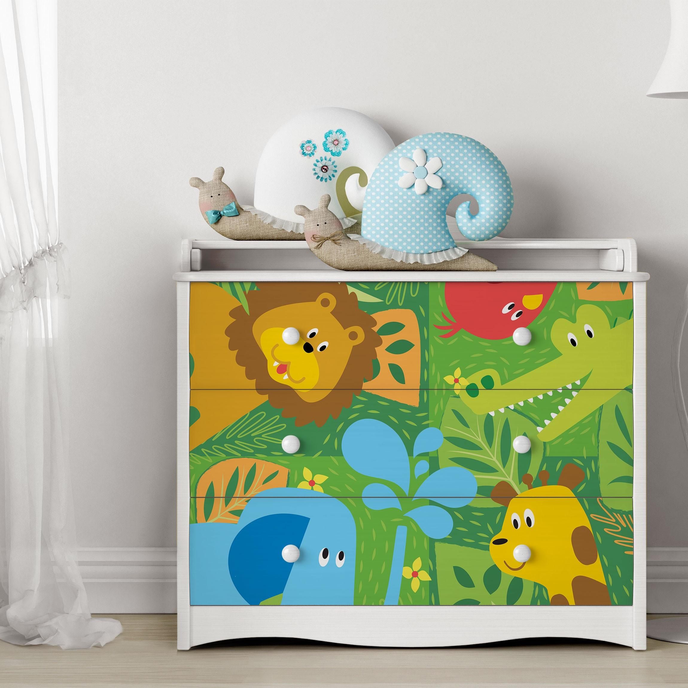 klebefolie kinderzimmer s e zootiere set elefant l we giraffe krokodil dekofolie. Black Bedroom Furniture Sets. Home Design Ideas