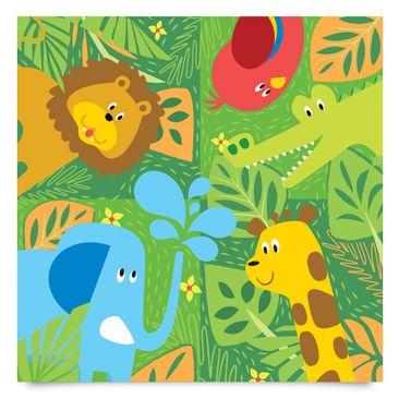 Produktfoto Klebefolie Kinderzimmer - Süße Zootiere Set - Elefant Löwe Giraffe Krokodil - Dekofolie