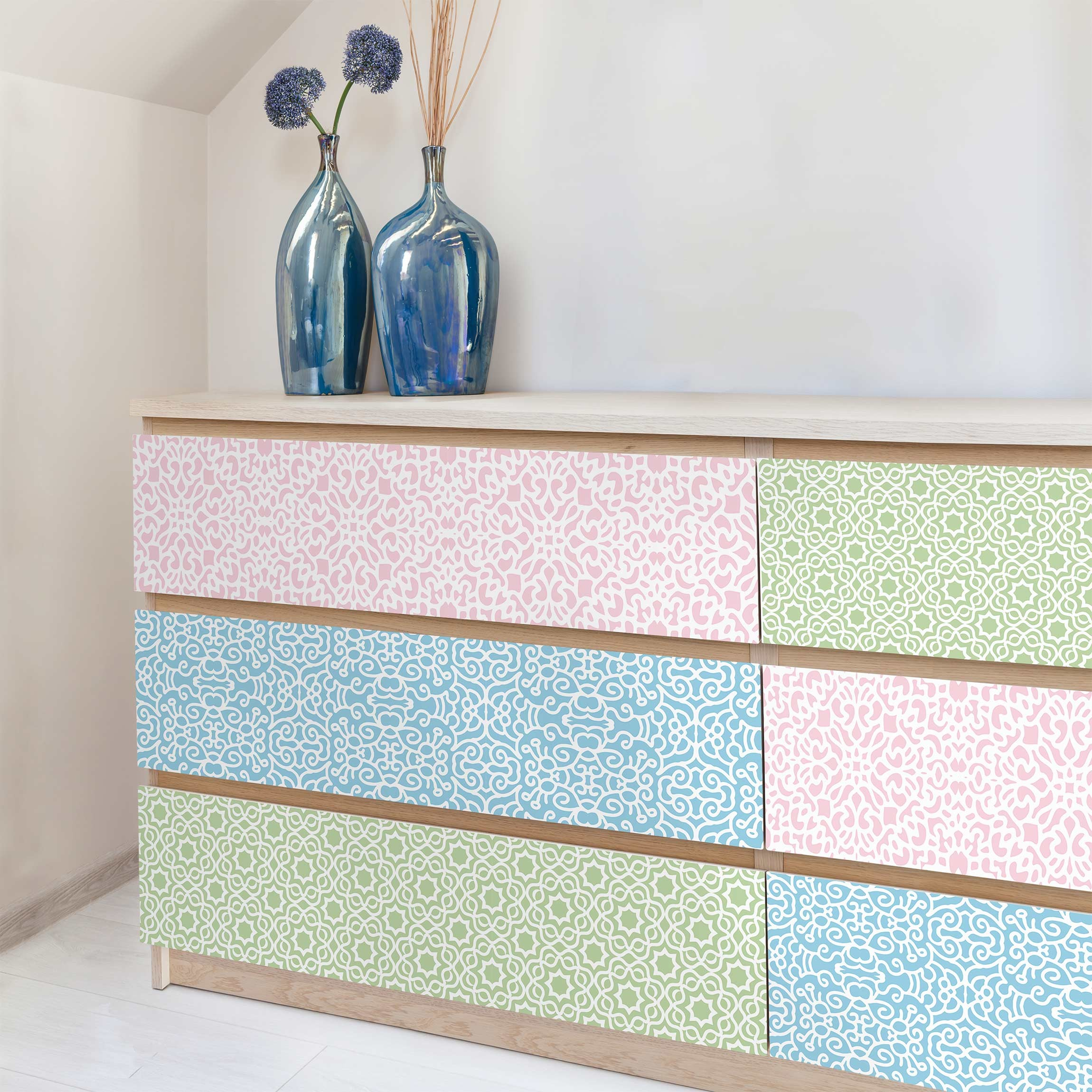 Klebefolie Set - 3 Arabische Muster in Pastelltönen - Rosé Mint ...