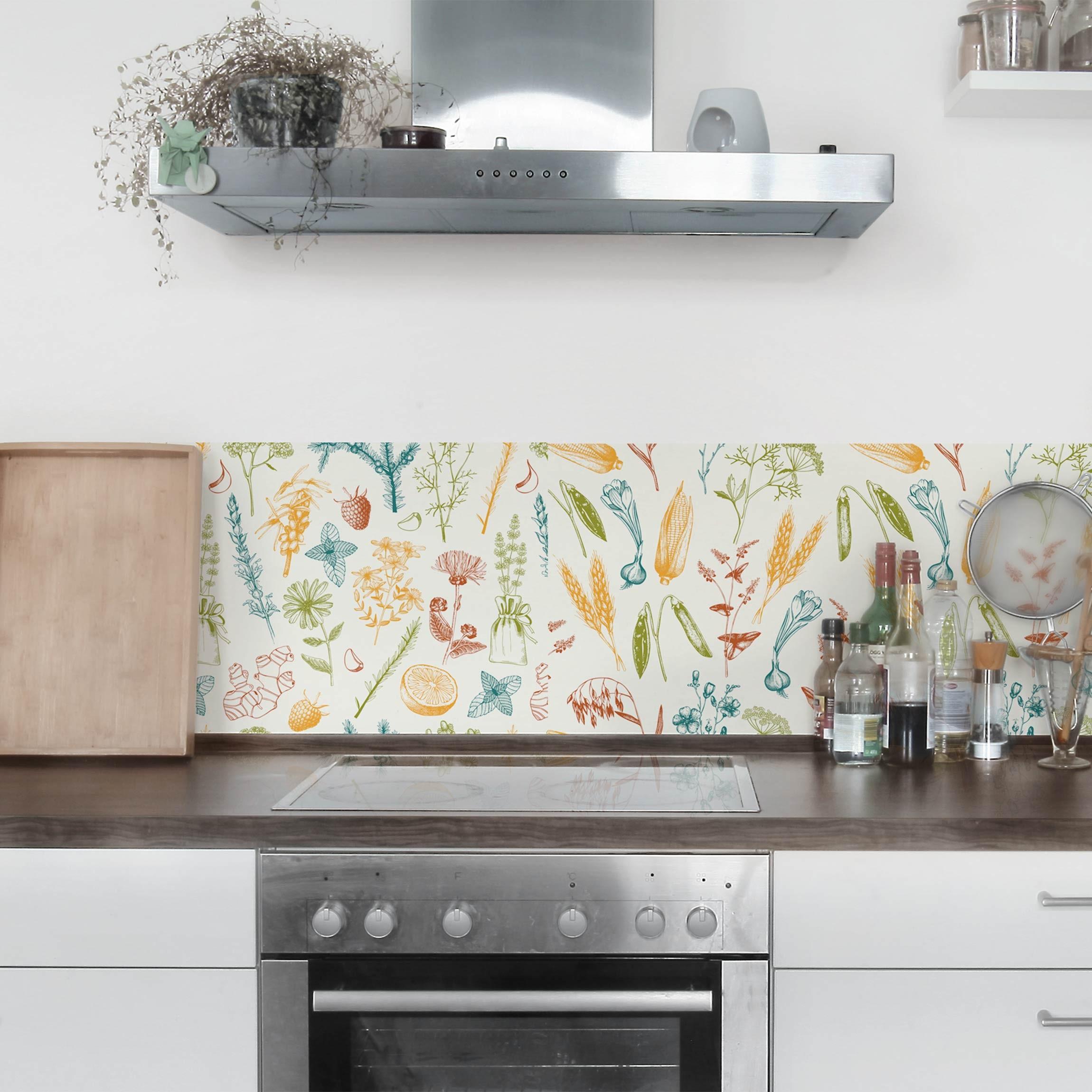 Klebefolie Küche - Set aus 2 Mustern mit Obst, Kräutern und Getreide -  Dekorfolie Küche