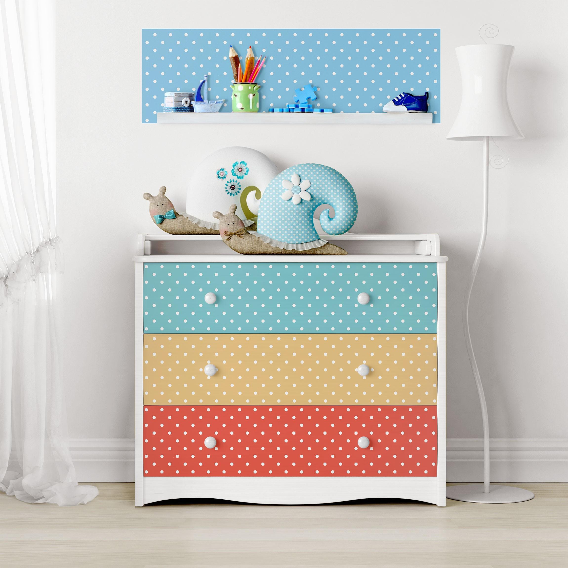Mobelfolie Punkte Set Kinderzimmer Weiss Gepunktete Pastell Farben Turkis Blau Gelb Rot