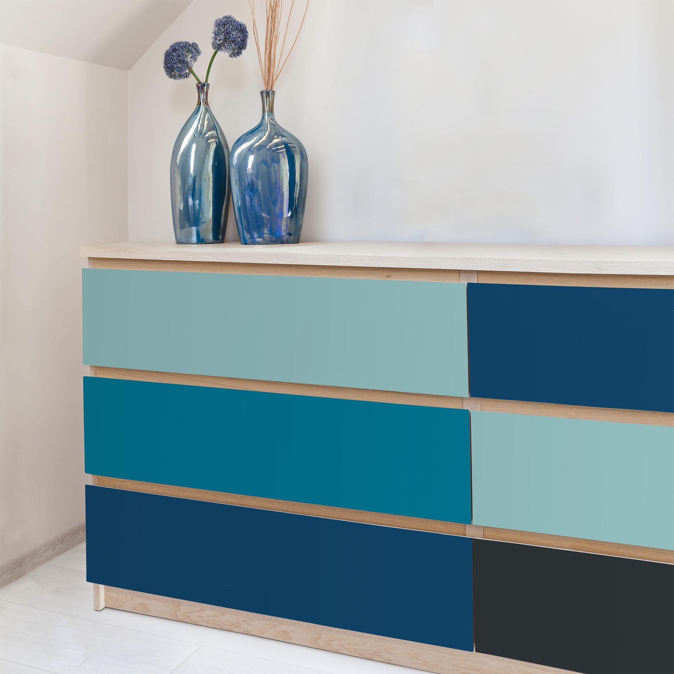 folie f r m bel tiefe see 4 farben set pastellt rkis petrol preussisch blau mondgrau. Black Bedroom Furniture Sets. Home Design Ideas