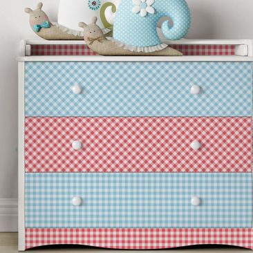 Immagine del prodotto Carta Adesiva per Mobili - Diamond pattern with stripes in pastel blue and vermilion decorative