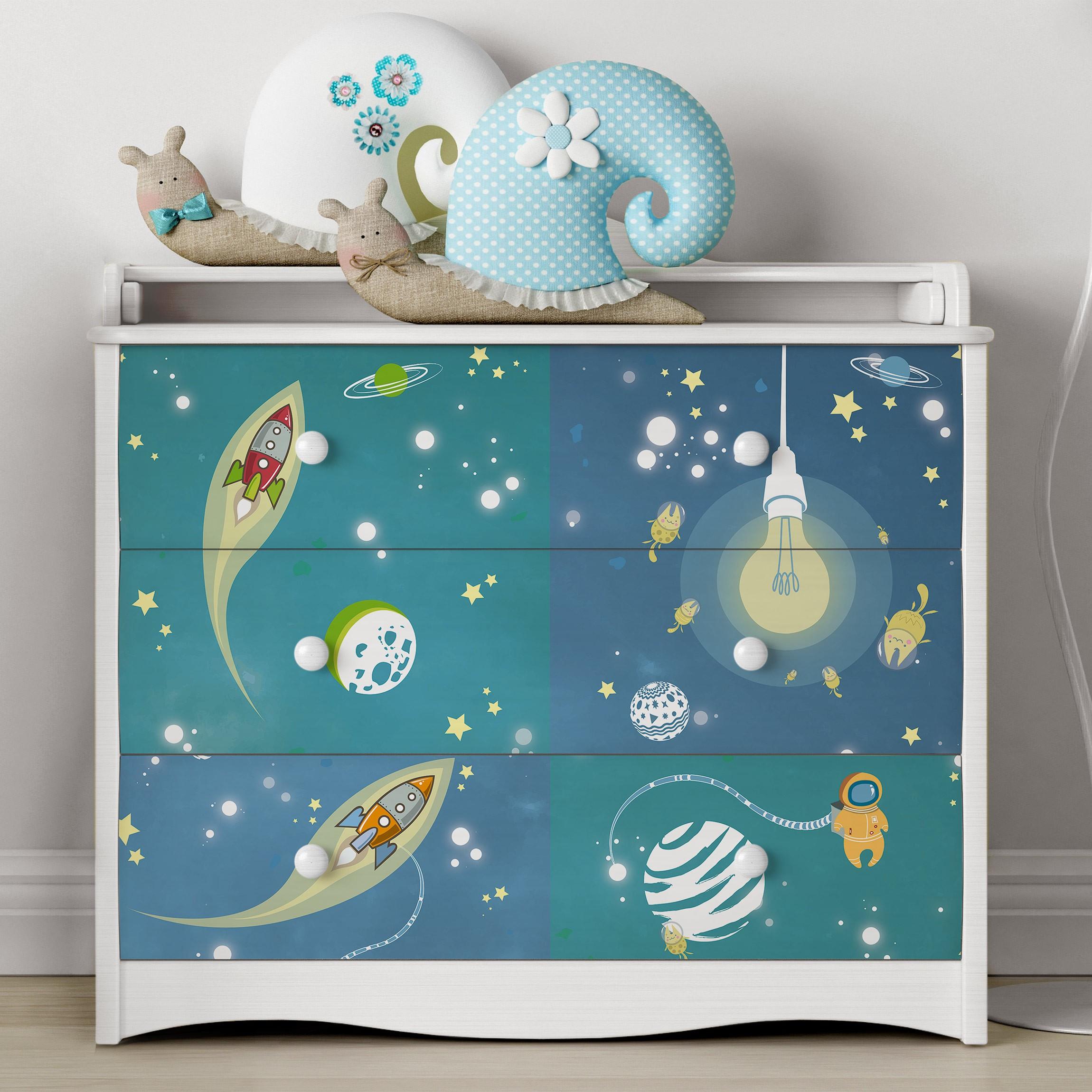 carta adesiva per mobili universe and astronauts set