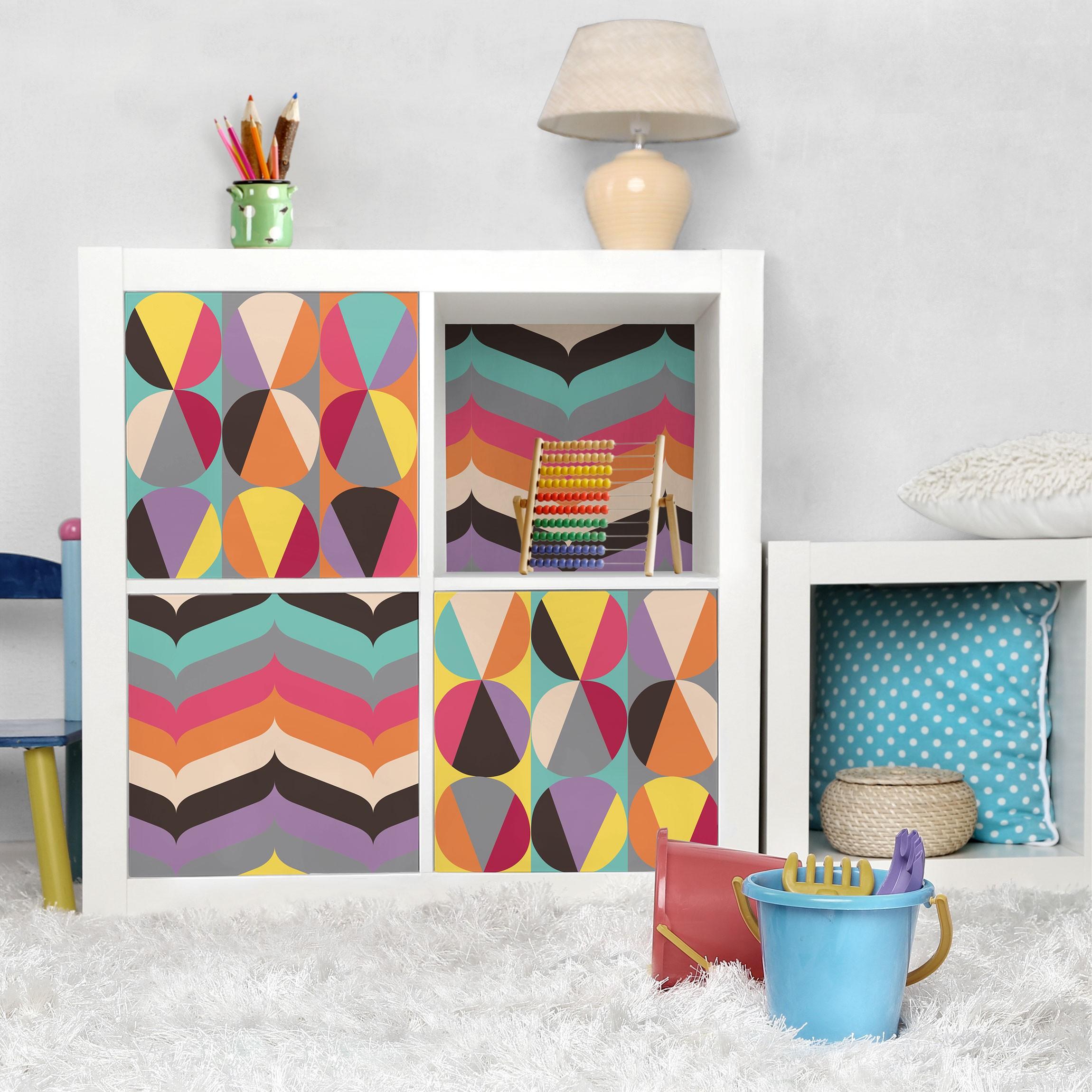 Carta adesiva per mobili two 60s retro pattern - Carta per coprire mobili ...