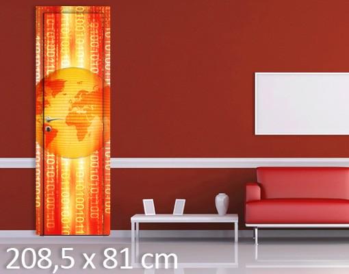 Produktfoto Türtapete Weltkarte - Digital Planet - selbstklebende Vinyltapete