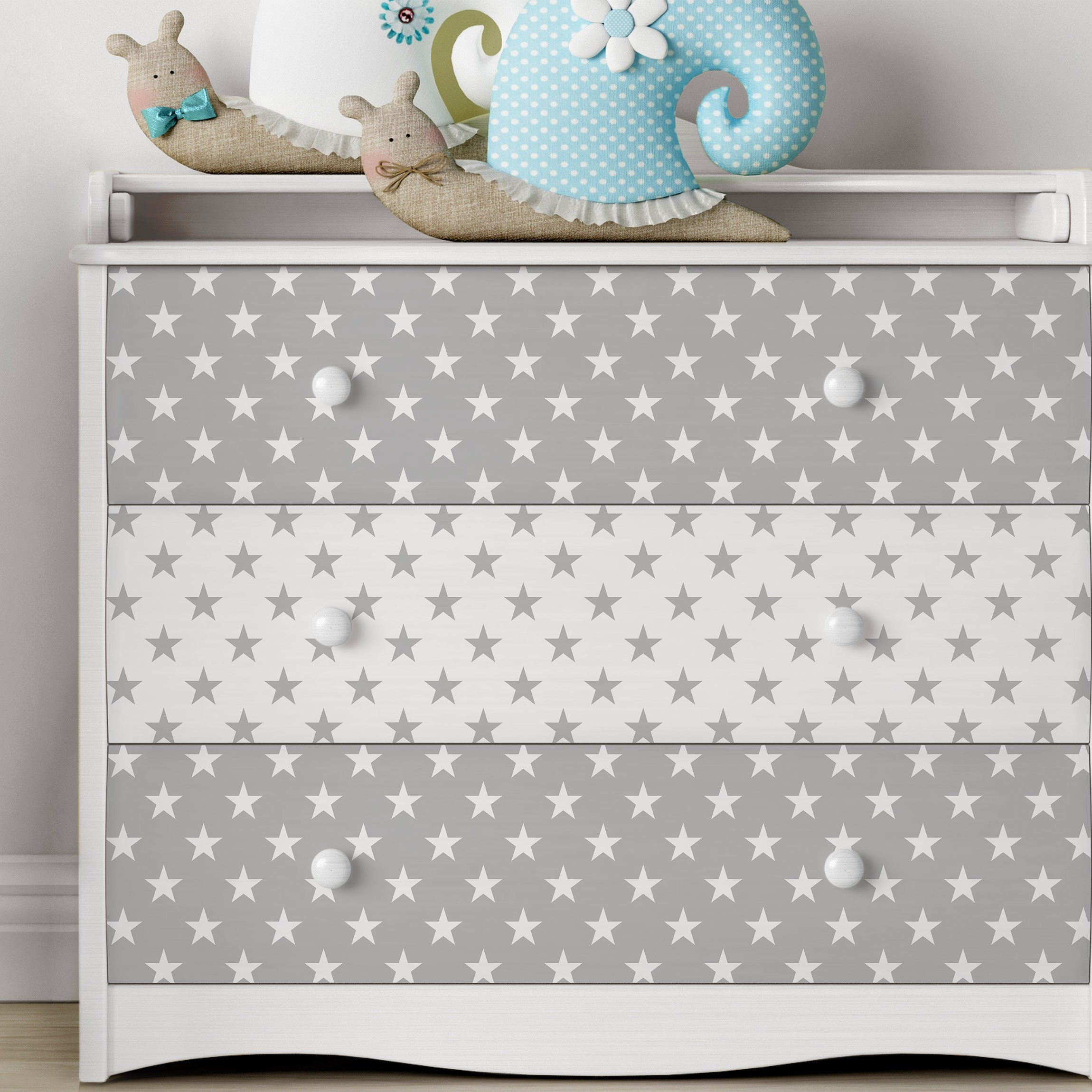 carta adesiva per mobili stars pattern set in grey and white