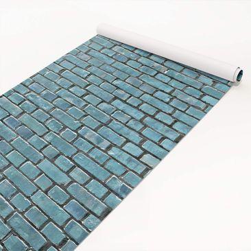Produktfoto Klebefolie Steinoptik - Backsteinziegel türkis blau - Steinfolie