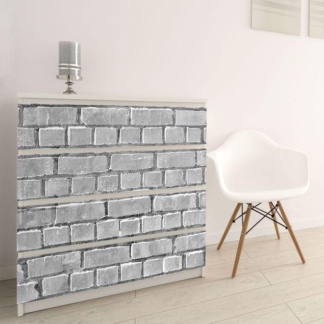 Produktfoto Möbelfolie - Backsteinziegel schwarzweiß - Backsteinfolie für Möbel