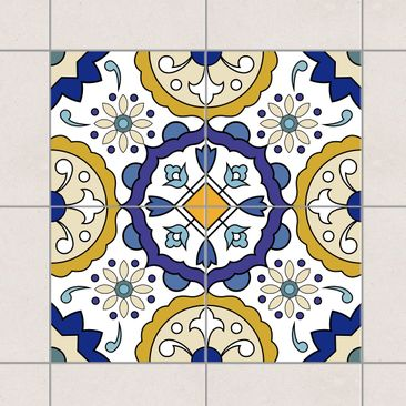Immagine del prodotto Adesivo per piastrelle - Set - Flowers ornament from 4 Spanish tiles 10cm x 10cm