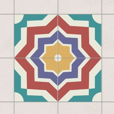 Product picture Tile Sticker Set - 4 Moroccan tiles star...