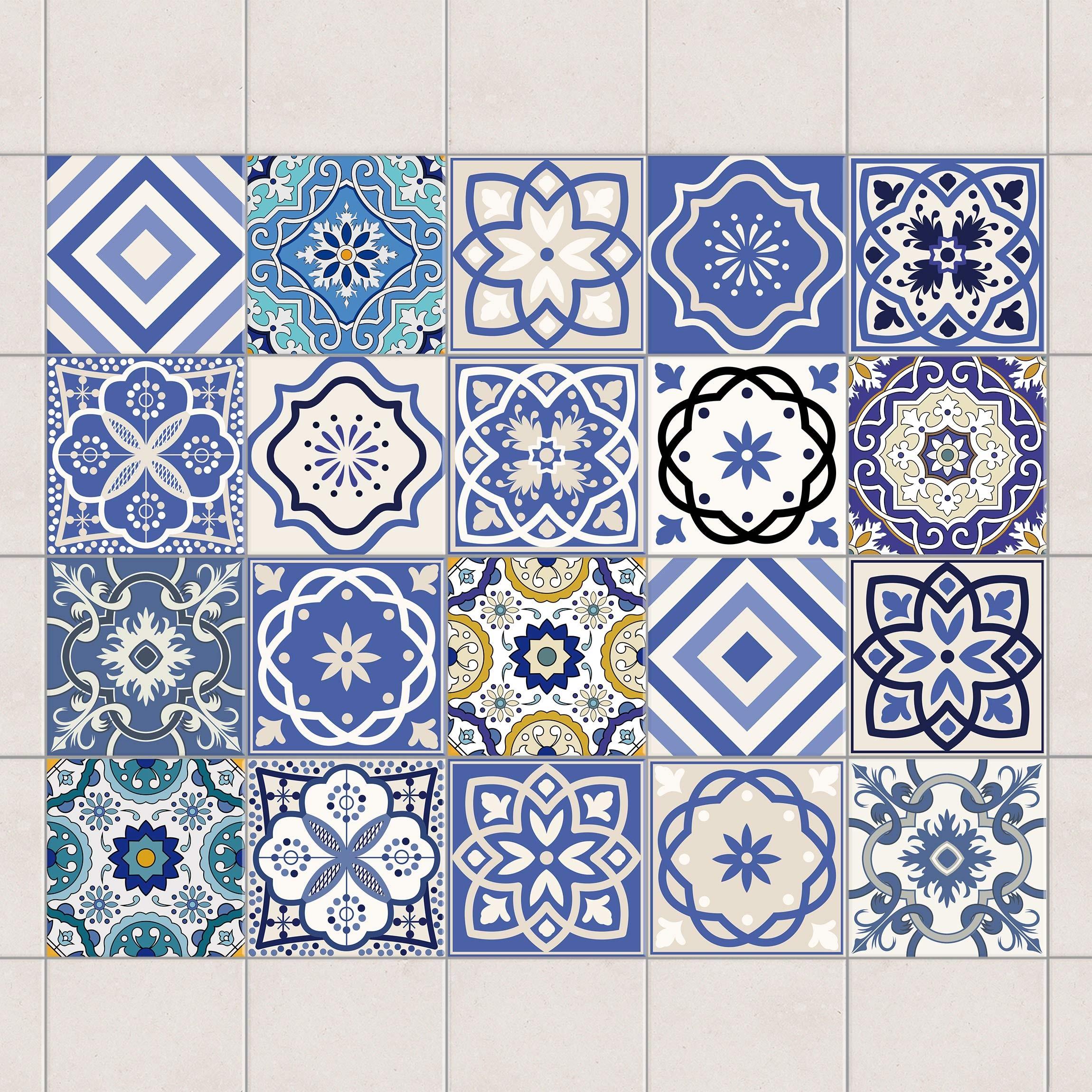 Fliesenaufkleber Set 20 Mediterrane Fliesen Fliesensticker 10cm